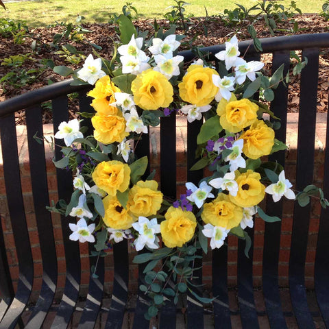 "Yellow Harmony Wreath - 22"" - 6"