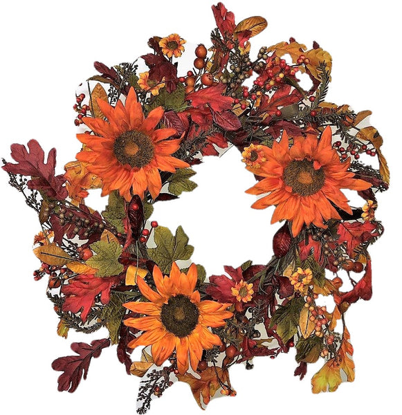 Sunflower and Fall Leaf Harvest Wreath-24""