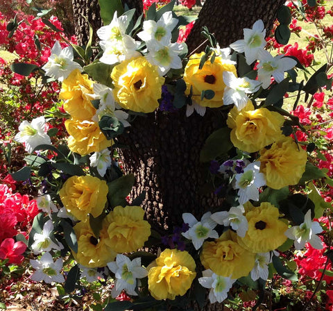 "Yellow Harmony Wreath - 22"" - 7"