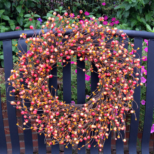 "Autumn Orange Berry Wreath - 24"" - 1"