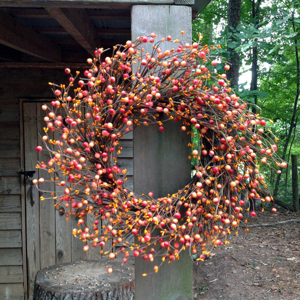 "Autumn Orange Berry Wreath - 24"" - 2"