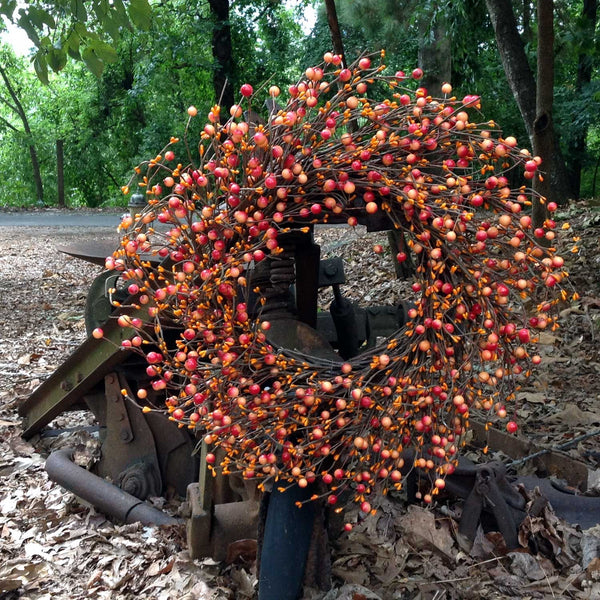 "Autumn Orange Berry Wreath - 24"" - 4"