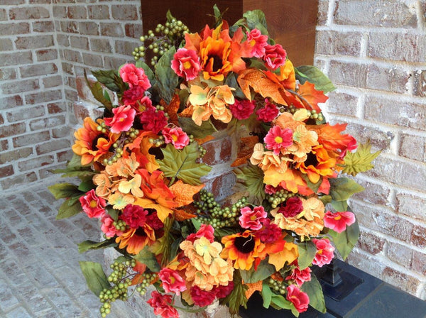 "Autumn Hydrangea Mix Wreath - 20"" - 1"