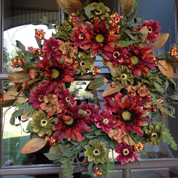 "Rusted SunFlower & Daisy Wreath -24"" - 1"