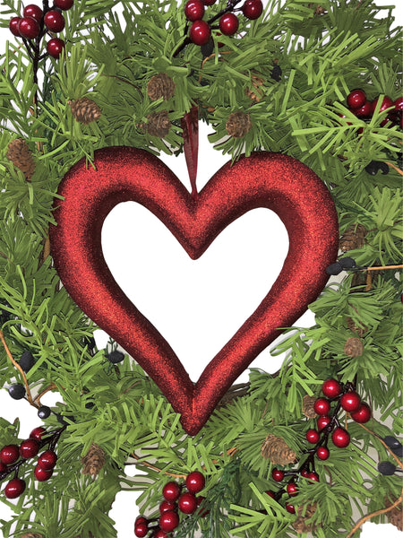Red Berry with Center Heart Valentines Day Wreath