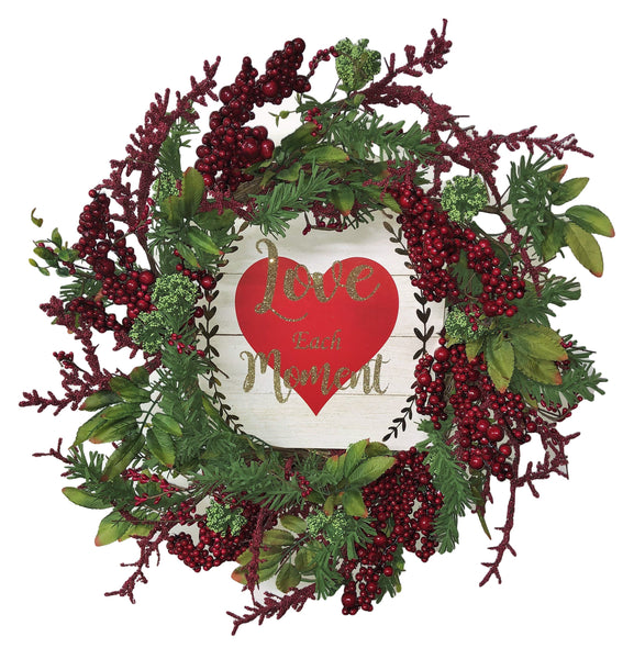 Love Each Moment Valentines Day Wreath
