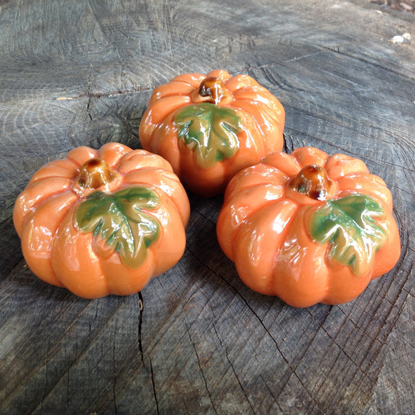 3pc Orange Ceramic Pumpkins