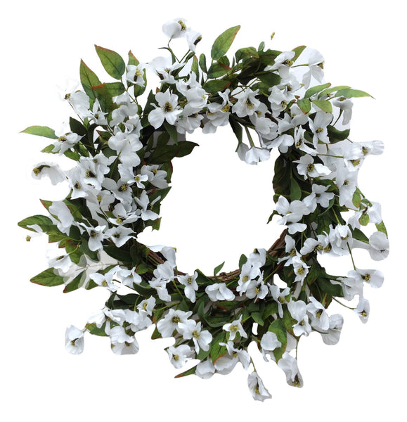 "Dogwood Flower Wreath 22""- White"