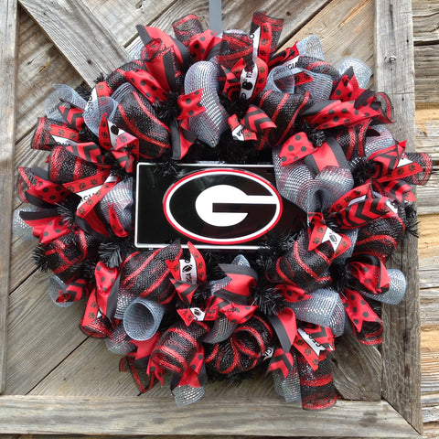 UGA Collegiate Wreaths with License Plate -26""
