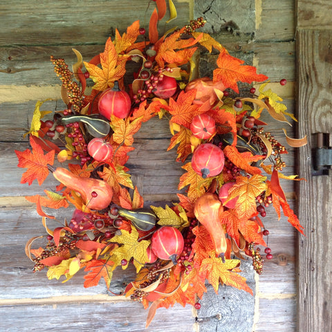 Farm House Fall Gourd Wreath - 24""