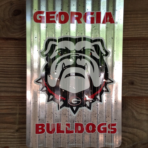 UGA Bulldog Vintage Metal Sign with Hanger
