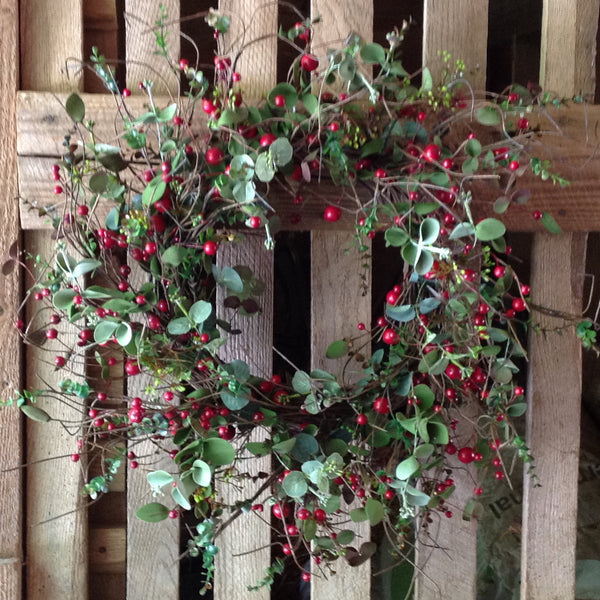 Farm House Christmas Wreath 24""