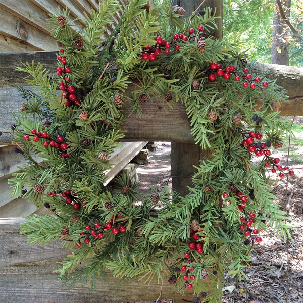 Mini Pine Cone and Berry Holiday Wreath -24""