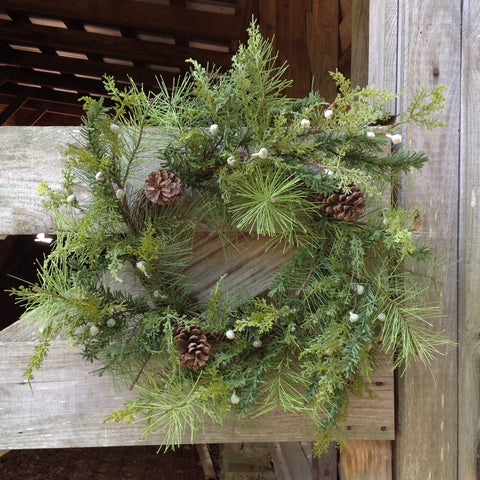 Winter Farm Pine Cone Wreath - 24""