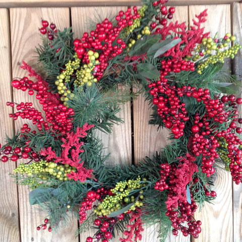 Green & Red Mixed Berry Wreath - 24""