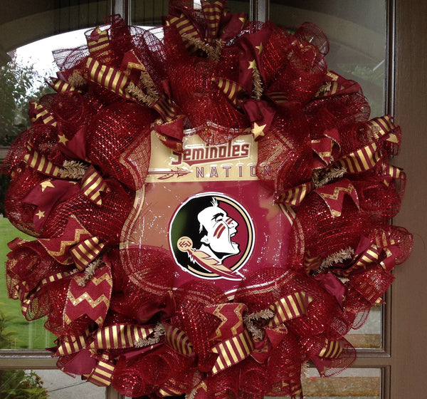 Florida Seminoles Collegiate Wreaths with License Plate -26""