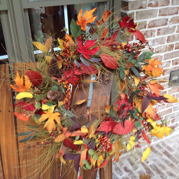 Autumn Splendor Leaf Wreath-24""