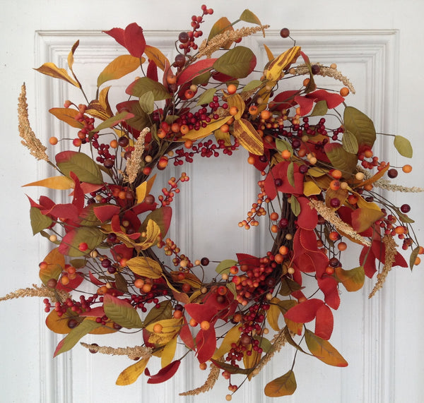 Autumn Mixed Berry & Leaf Wreath