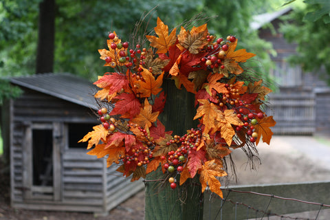"Fall Berry Leaf Wreath 22"" - 3"