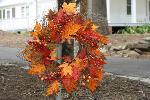 "Fall Berry Leaf Wreath 22"" - 5"
