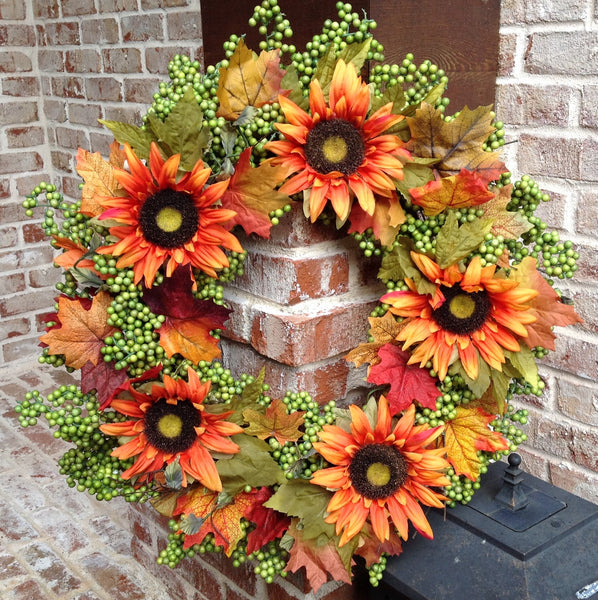 Autumn Green Apple Sunflower Wreath II -24""