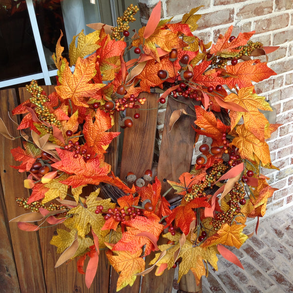 "22"" Fall Acorn Leaf Wreath"