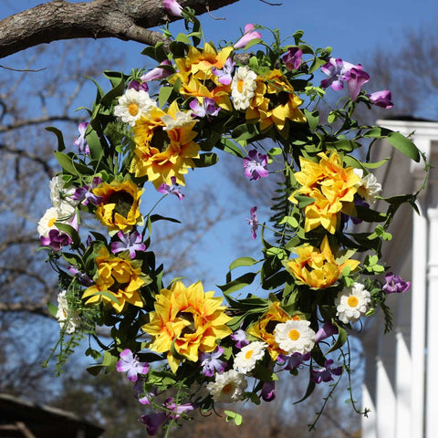 "Summer Sunflower Wreath - 22"" - 5"