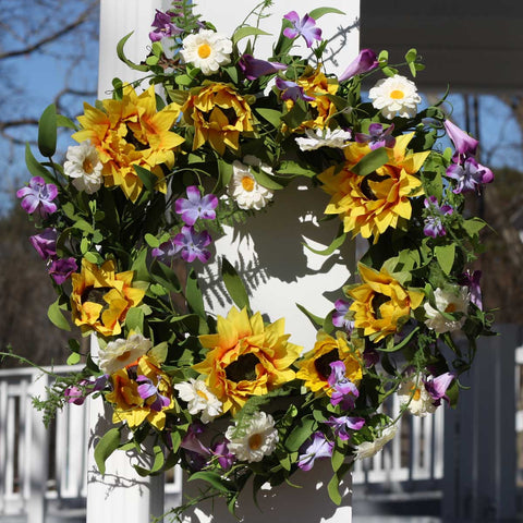 "Summer Sunflower Wreath - 22"" - 6"