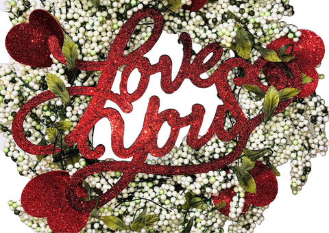 """Love You"" Valentines Day Wreath"