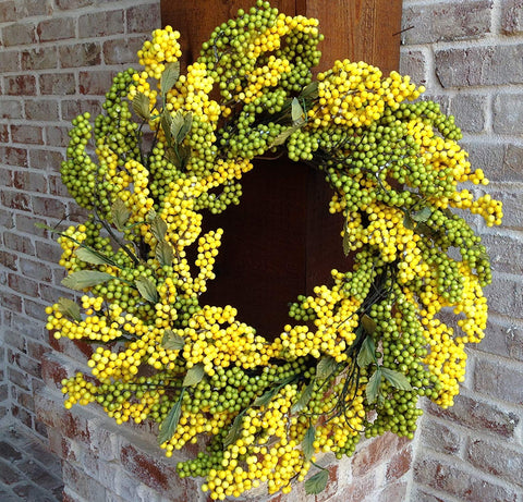 Green / Yellow Soft Touch Wreath - 24""