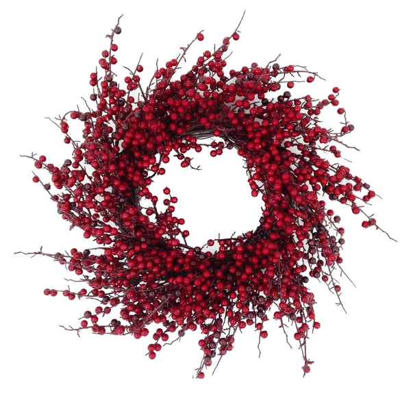 "24"" Glossy Berry Spiral Wreath - Red / Burgundy"