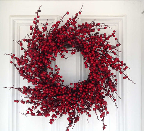 "24"" Glossy Berry Spiral Wreath - Red / Burgundy - 1"