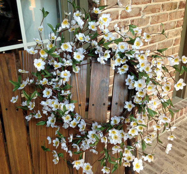 "Cherry Blossom Wreath 22""- White"