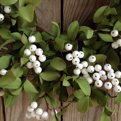 White Berry with Green Foliage Wreath - 22""