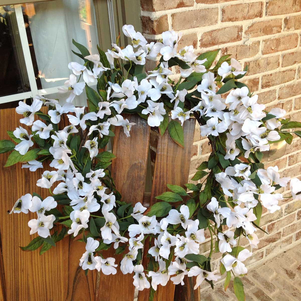 Dogwood flower wreath 22 white flora decor dogwood flower wreath 22 white mightylinksfo