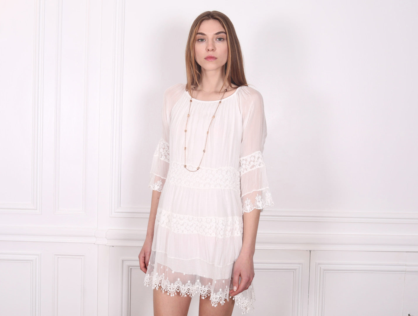 Alessandra Embroidered Silk Dress