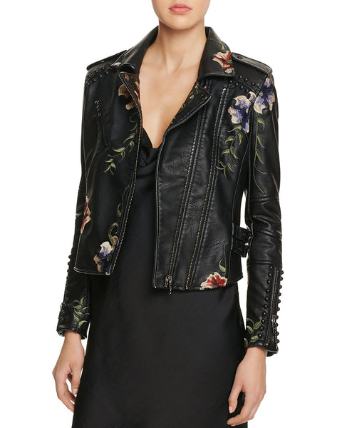 Abba Studded Embroidered Moto Jacket