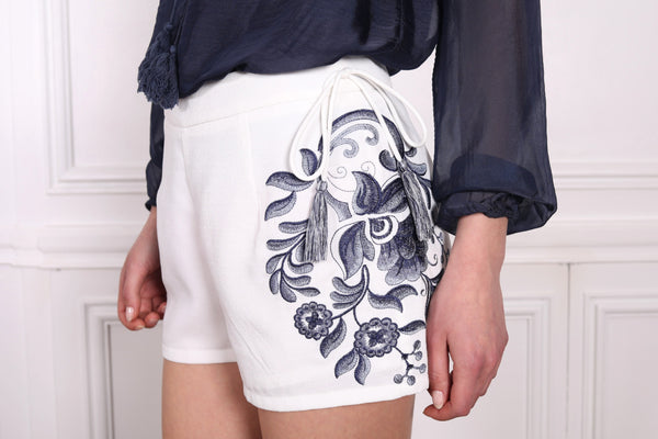 Embroidered Tassel Shorts