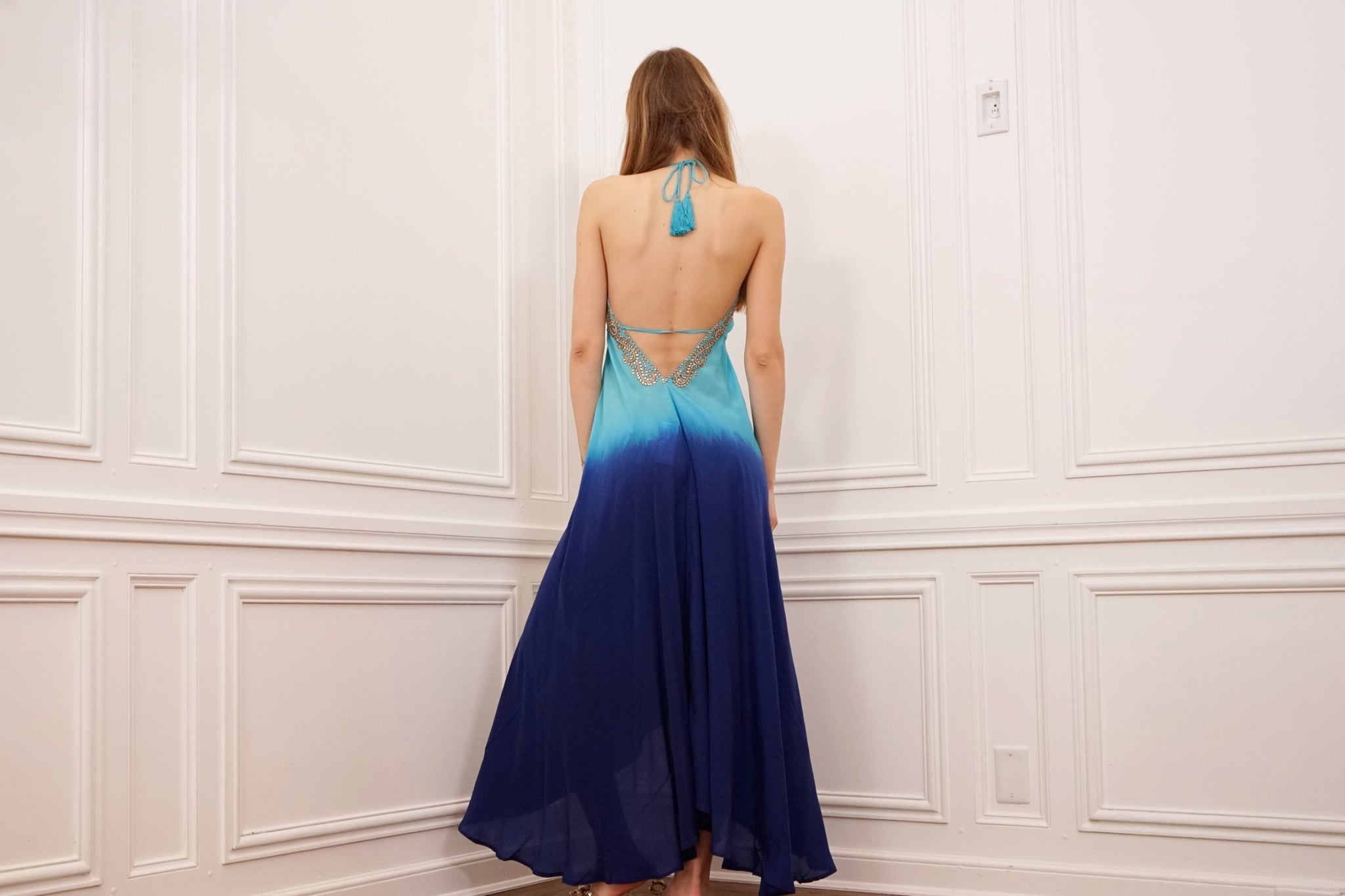 High/Low Ombre Hand Embroidered Dress
