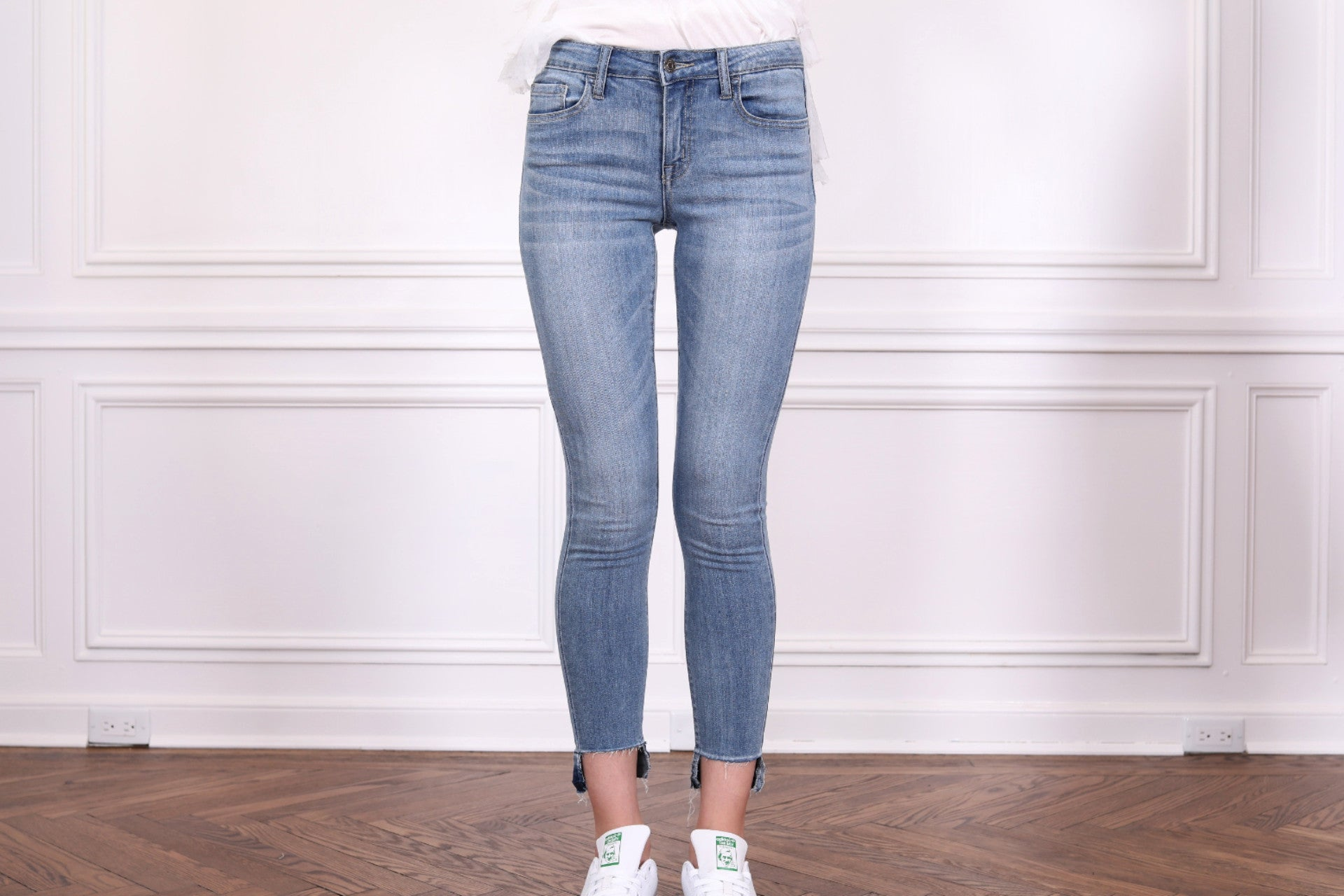 High/Low Hem Crop Skinny Jeans