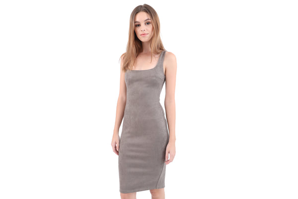 Square Neck Fitted Suede Dress