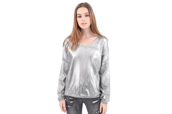 Metallic Cut Out Star Sweater