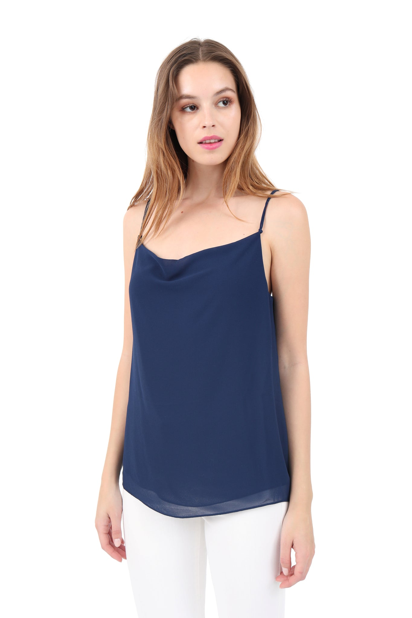 Cowl Neck Knot Strap Top