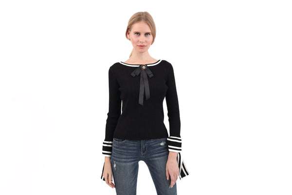 RIbbed Bow Sleeve Top
