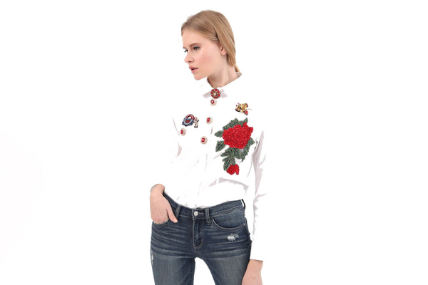 Italian Jeweled Buttons & Beaded Patches Shirt