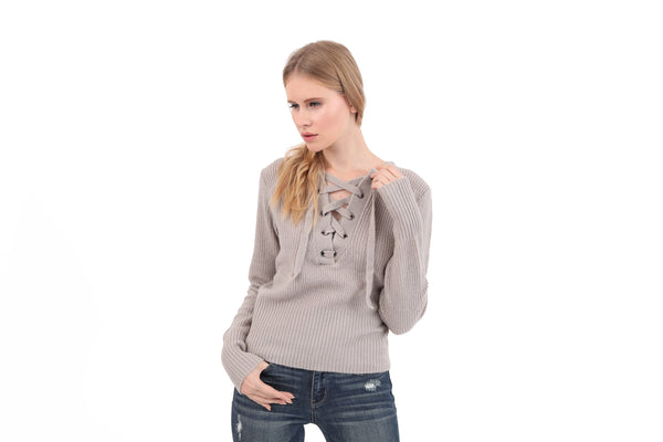 Grommet Tie Ribbed Sweater