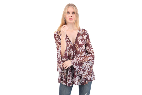 Leaf Print Studded Sheer Blouse