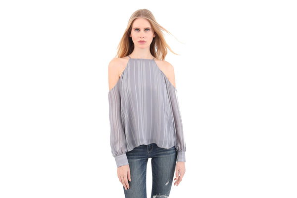 Metallic Stripes Cold Shoulder Top