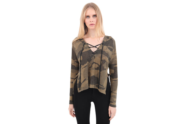 Front Lace Up Camo Hoody