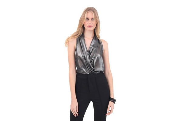 Metallic Drape Neck Blouse